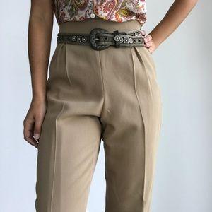 ANN TAYLOR VTG cream wool high waist dress pants 8